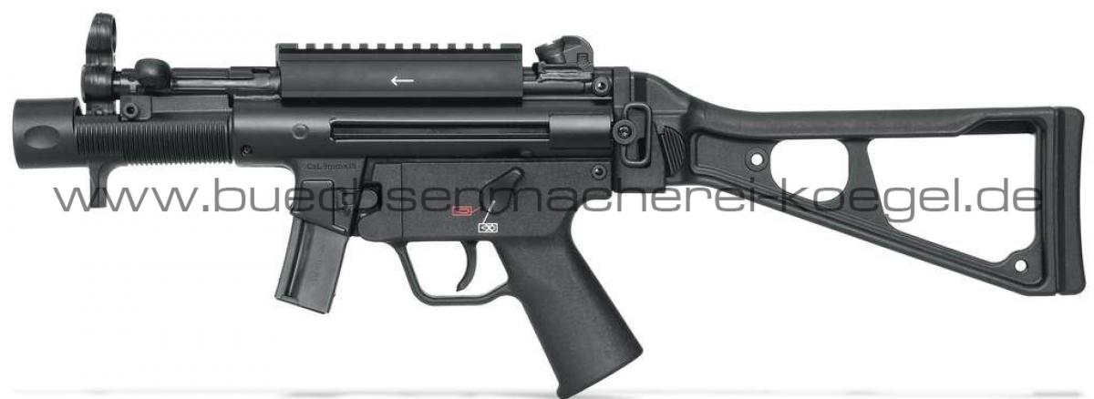 HK Pistole SP5K, Kal. 9 mm, mit Picatinny-Adapter und umklappbarer Schulterstütze